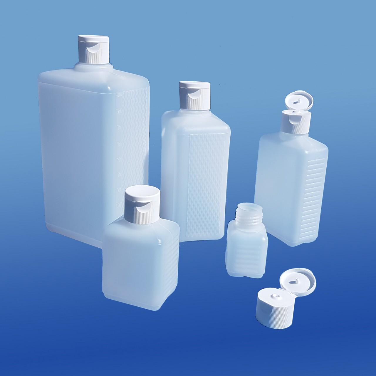 Viereck-Flaschen 50 - 1000 ml |mit Klappscharnier-Verschluss