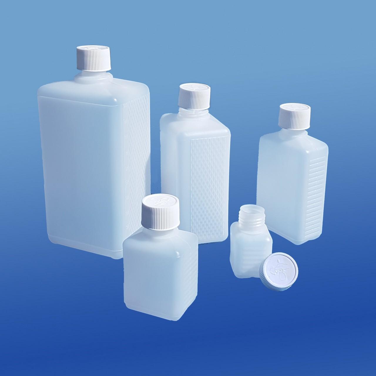 Viereck-Flaschen 50 - 1000 ml |mit Kinder-Sicherheitsverschluss