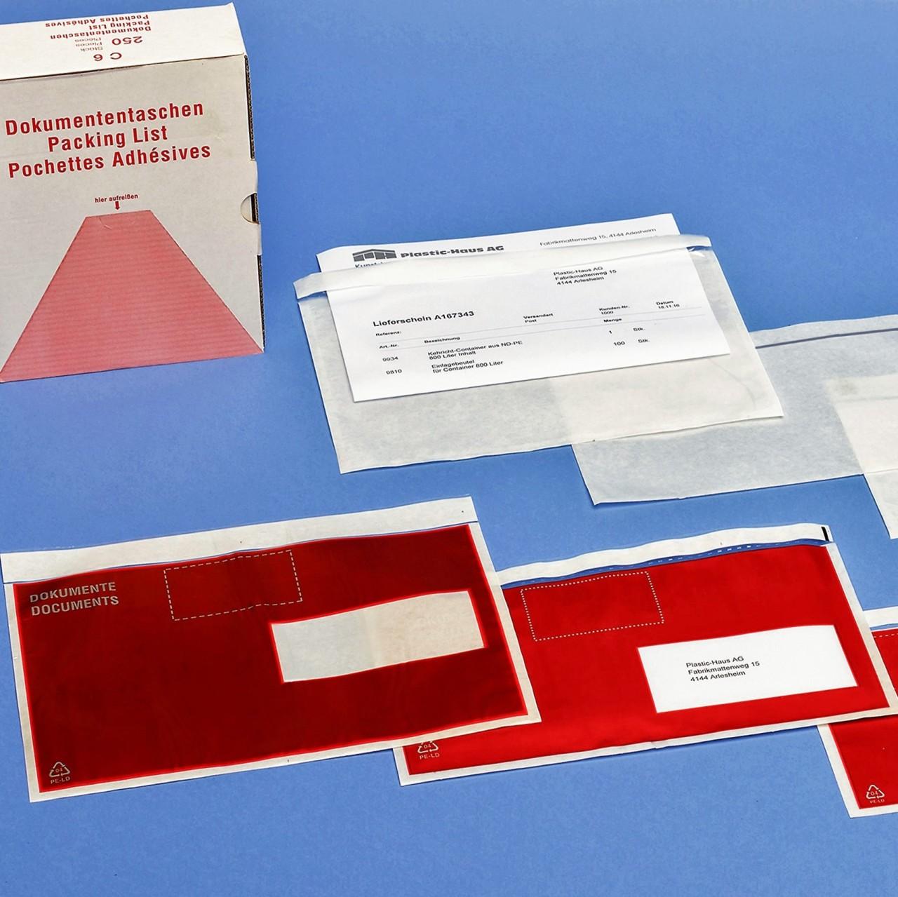 Selbstklebende Dokumenten-Taschen (250 Stück)