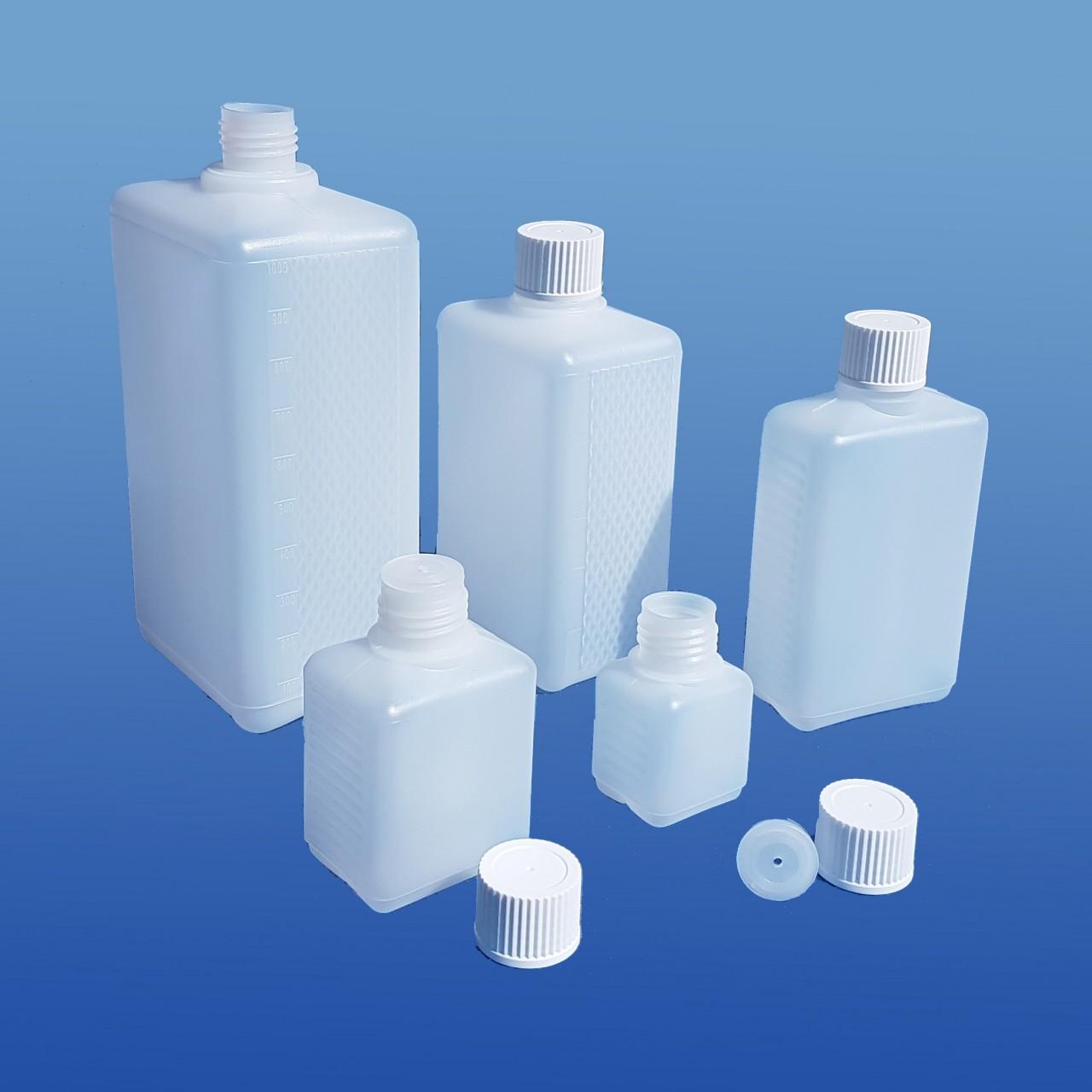 Viereck-Flaschen 50 -1000 ml |mit Spritzeinsatz-Verschluss