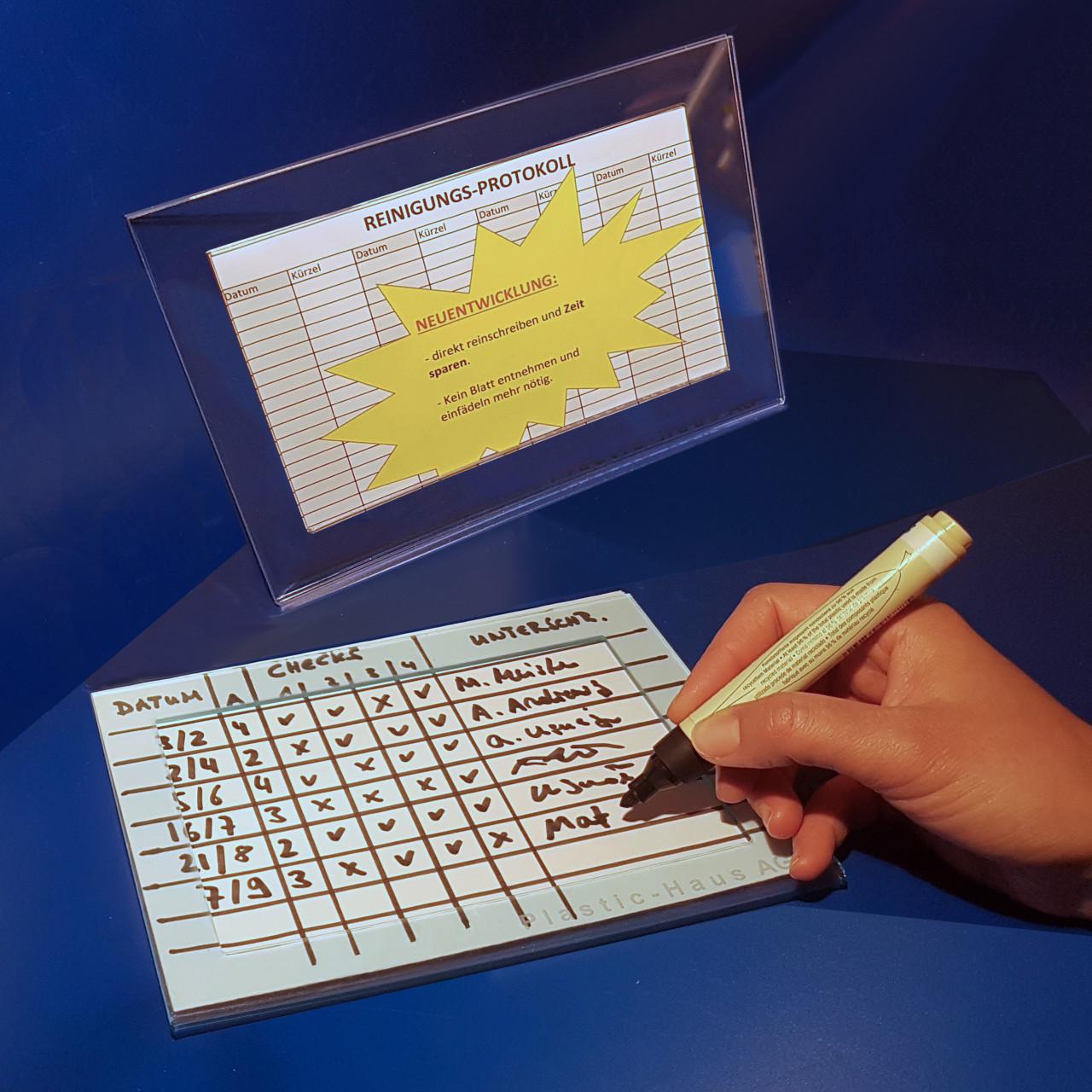 Protokoll-Halterung DIN A5 |mit frontseitigem Fenster